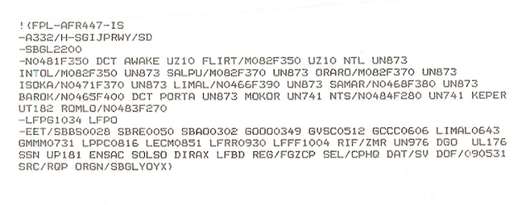 Plan de vol AF447
