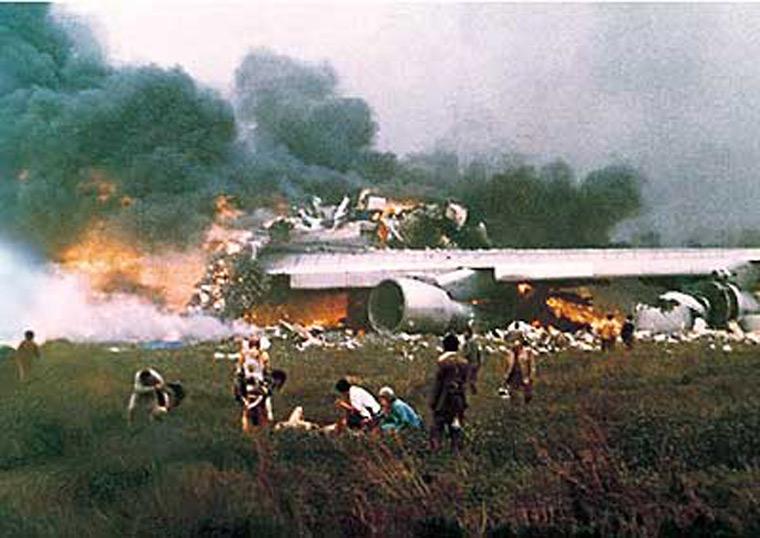 Flammes après le crash