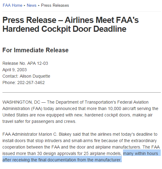 La FAA Approuve les portes en quelques heures !